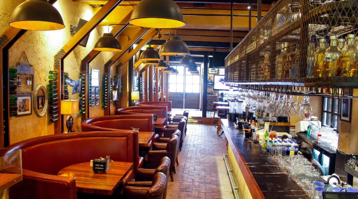 bar area at unplugged courtyard