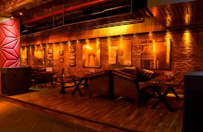 bar area at warehouse cafe gurgaon