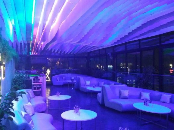 Interior of evviva sky lounge - crowne plaza pune city centre Bund Garden Road